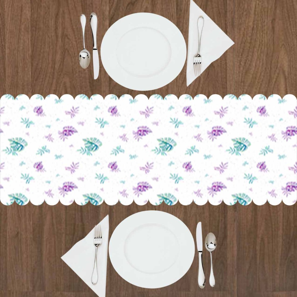 Else White Floor Purple Floral Green Tropical Leaves 3d Print Pattern Modern Table Runner  For Kitchen Dining Room Tablecloth
