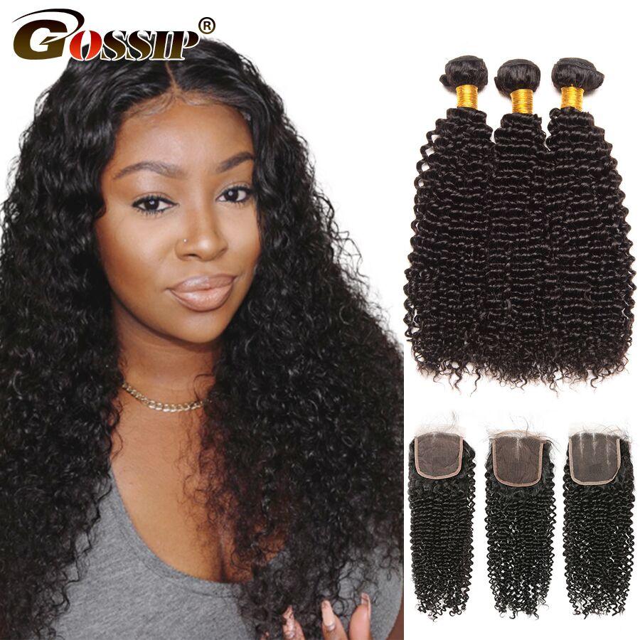 Human Hair Bundles With Closure Kinky Curly 3 Bundles With Closure 4x4 Closure With Bundles Remy