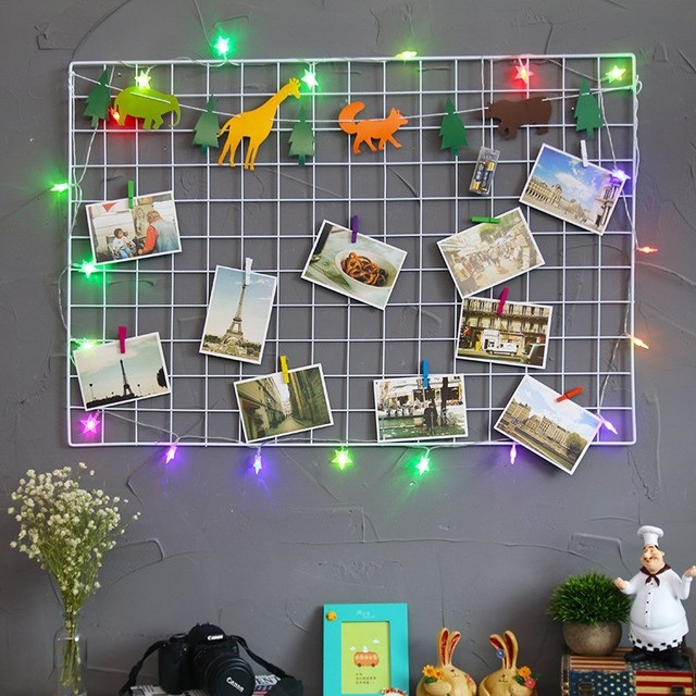 Wall Hanging Ins Style Metal Grid Photos Grids Postcard Mesh Frame ...