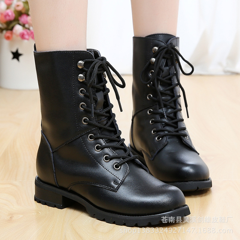 2017 autumn and winter new genuine leather  women  Martin boots autumn and winter new ladies genuine