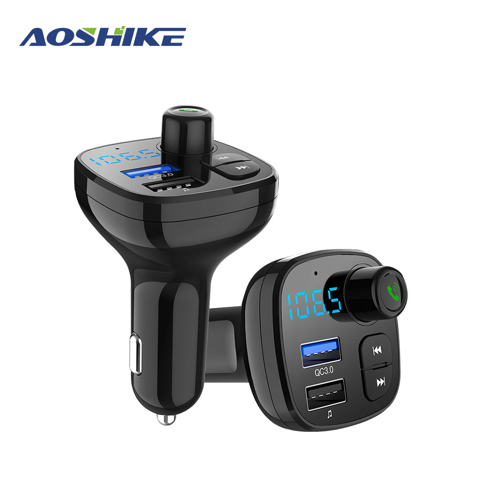 AOSHIKE FM Transmitter MP3 Player Bluetooth Car Kit Modulator 3.0A USB Car Charger Support TF Card and U disk AUX OUT-in FM Transmitters from Automobiles & Motorcycles