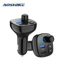 AOSHIKE FM verici MP3 çalar Bluetooth araç kiti modülatör 3.0A USB araba şarjı destek TF kartı ve U disk AUX OUT