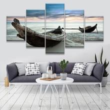 Ocean Ship Seascape Modern Home Wall Canvas Art HD Painting 5pcs