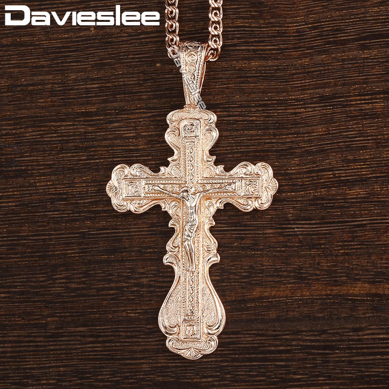 Davieslee Crucifix Cross Pendant Womens Mens Necklace Chain Snake Link 585 Rose Gold Filled DGP172_1