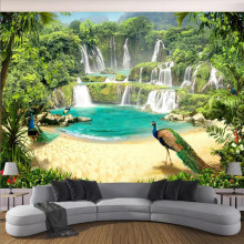 Waterfall landscape background wall professional production mural factory wholesale wallpaper poster photo