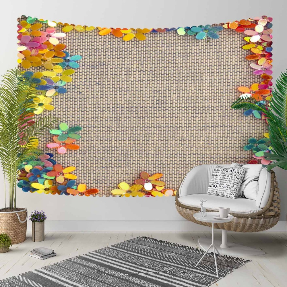 Else Brown Wicker Orange Yellow Green Flowers Frames 3D Print Decorative Hippi Bohemian Wall Hanging Landscape Tapestry Wall Art