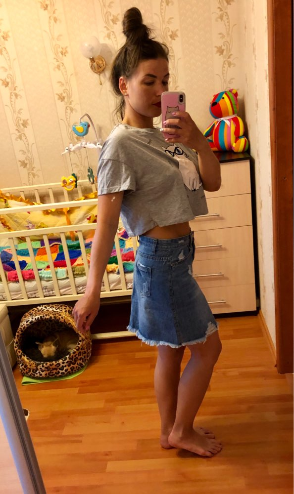 Casual High Waist Denim Skirt Blue Light Wash Women Distressed Mini Pencil Skirt Ladies Sexy Ripped Summer Vintage Jeans Skirt photo review