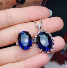 цена KJJEAXCMY boutique jewels 925 sterling silver inlaid natural sapphire ring + Pendant Necklace suit support detection онлайн в 2017 году