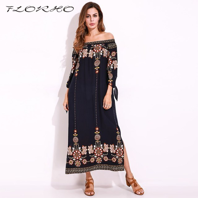 e3bebcd7f8ab5 2018 Summer Beach Boho Long Dress Women Retro Flower Print Loose Off  Shoulder Split Maxi Dresses