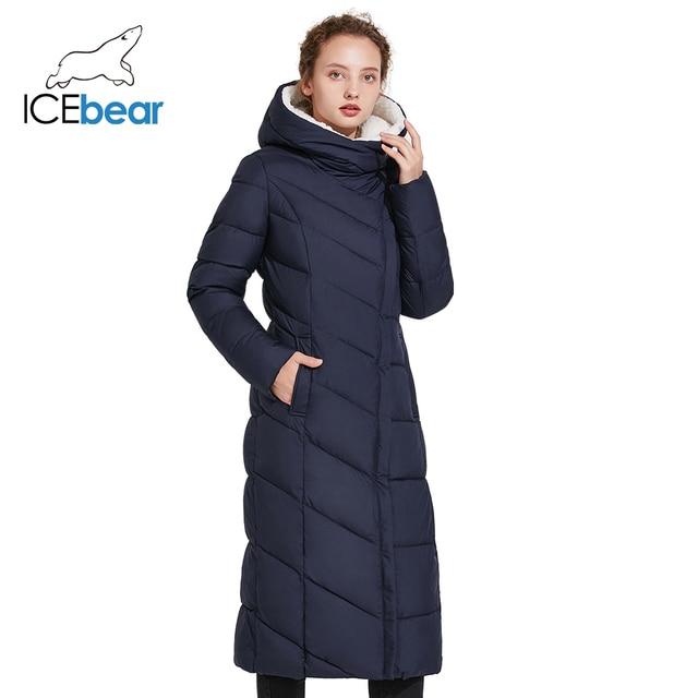 ICEbear 2017 Модная зимняя женская куртка длинная облегающая парка красивый пуховик с несъёмным капюшоном 17G661-1D
