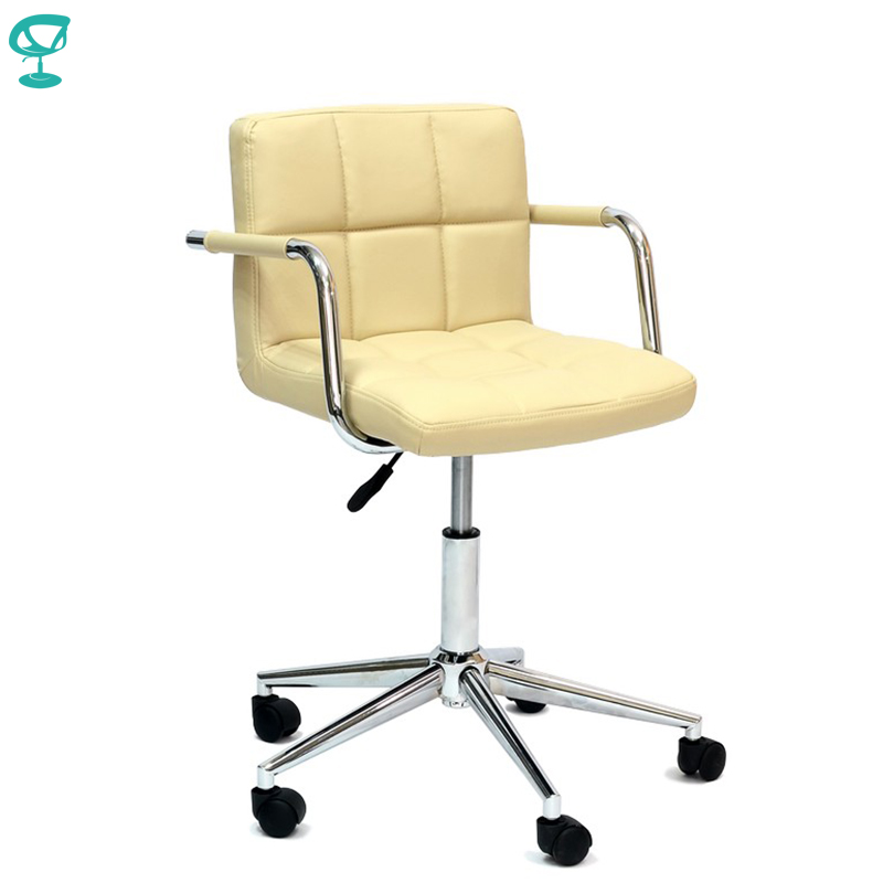 94935 Barneo N-69 Leather Roller Kitchen Chair Swivel Bar Chair Beige Free Shipping In Russia