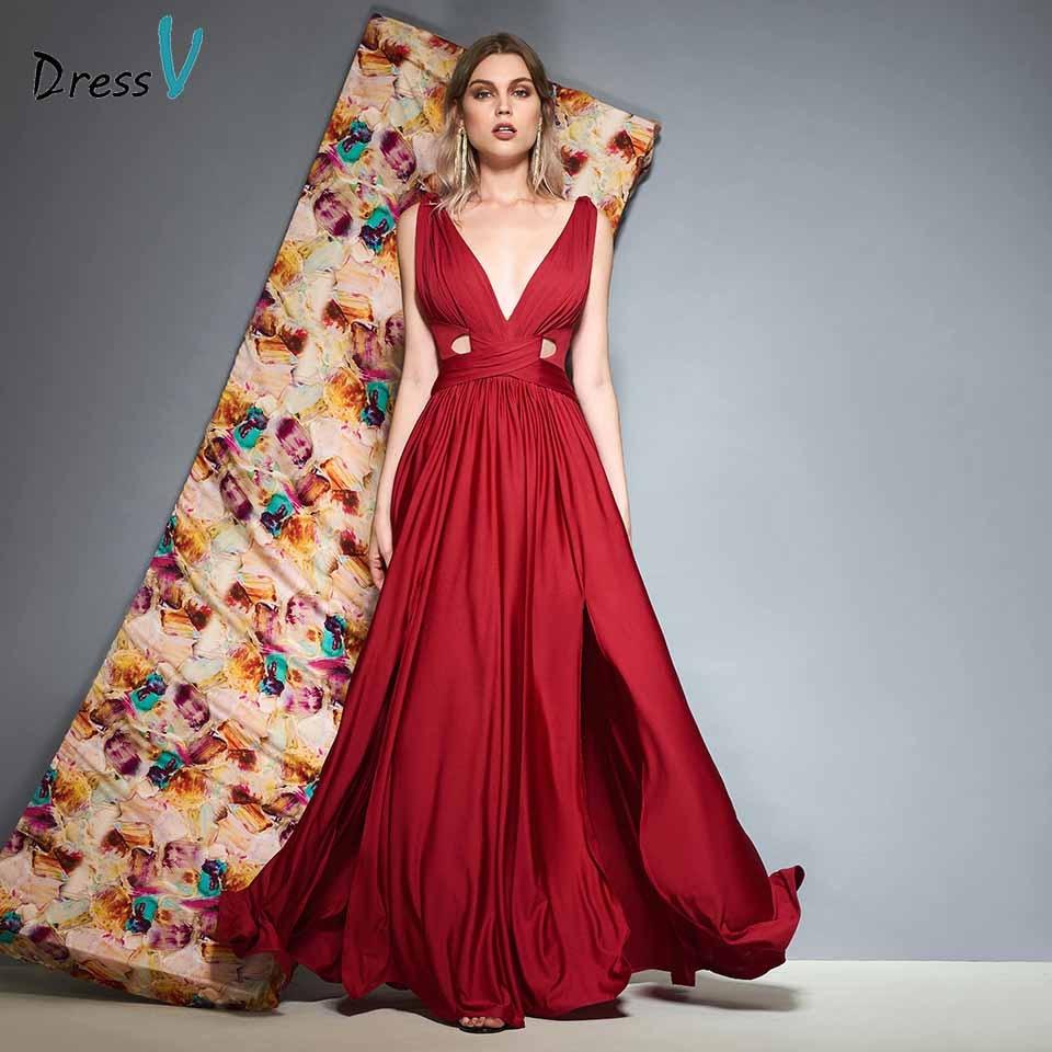Dressv V Neck Pleats Sleeveless A Line Evening Dress Floor Length Zipper Up Wedding Party Formal Dress Evening Dresses