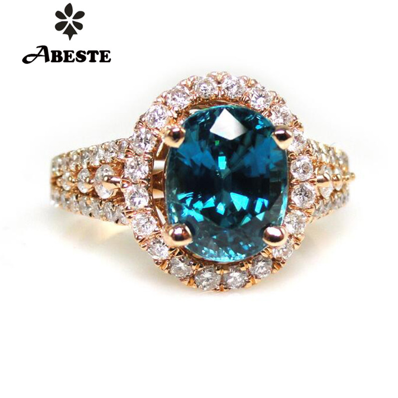 ANI 18K Rose Gold (AU750) Women Wedding Diamond Ring 3ct Natural Blue Zircon Fine Jewelry Enagement Ring Gemstone Anillos de oro new pure au750 rose gold love ring lucky cute letter ring 1 13 1 23g hot sale