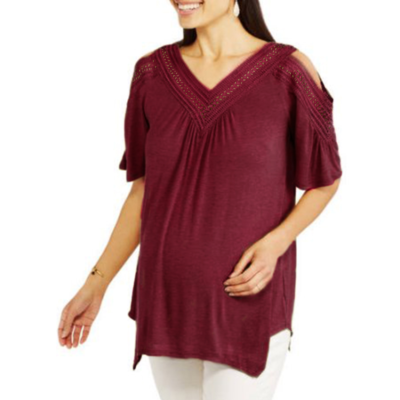 Hot Sale 2018 New Lace Crochet Pregnant Shirts Casual Solid Short Sleeve Off Shoulder Blouses For Pregnancy Women Oversized