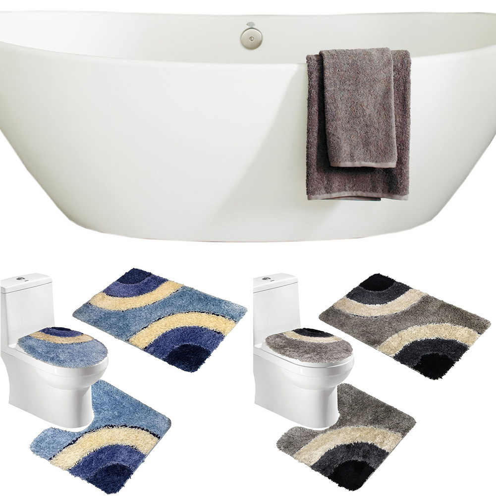 Microfiber Rug 3 Piece Bath Mat Set Pedestal Lid Toilet Cover Rug Bath  Carpet(China