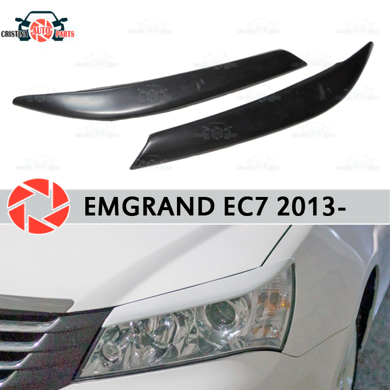 Eyebrows for Geely Emgrand EC7 2013- for headlights cilia eyelash plastic ABS moldings decoration trim covers car styling black sexy eyelash lace trim high waist lingerie sets