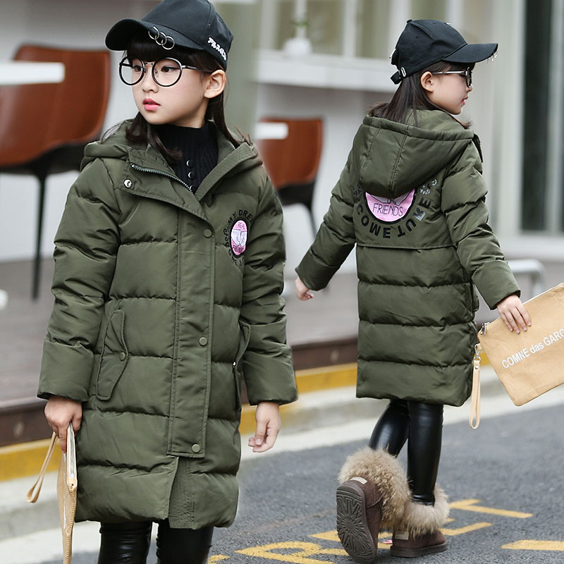 Winter Girl's Down Coat Jackets Children Girl Warm Thick Duck Down Black MUVEIL Hooded Outerwear for Kids Clothes 5-10Y kids parkas hooded coat children s winter jackets warm duck down for girl clothes children outerwear thick overcoat enfant