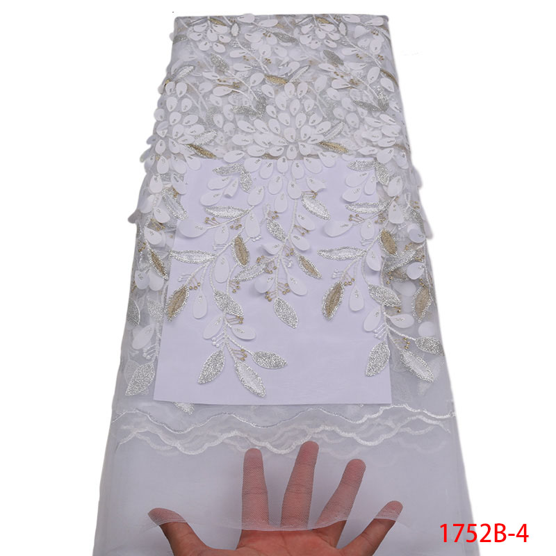 2018 tela de encaje francés blanco boda de alta calidad tela de encaje de tul africano 5 yardas flores 3D bordado tul encaje fabric1752B-in encaje from Hogar y Mascotas    1