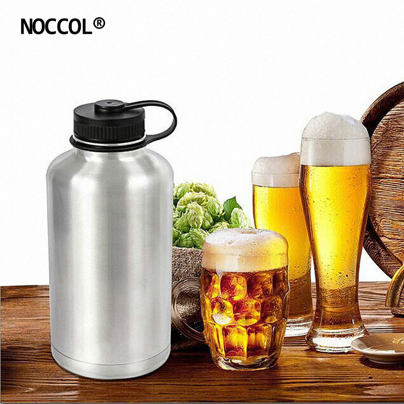 d0078c5b31 NOCCOL 64oz Eco Friendly Vacuum Beer Water Bottle Camping Flask Large  Stainless Steel Outdoor Sport Drinking Kettle BPA Free-in Water Bottles  from Home ...