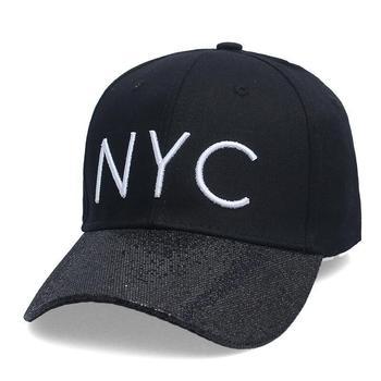 Seioum Nueva Negro Bordado Carta NYC Sombreros Mujeres Hombres Shinny  Visera Gorra de Béisbol Ajustable Hip Hop Snapback Caps a1bce64c71cf3