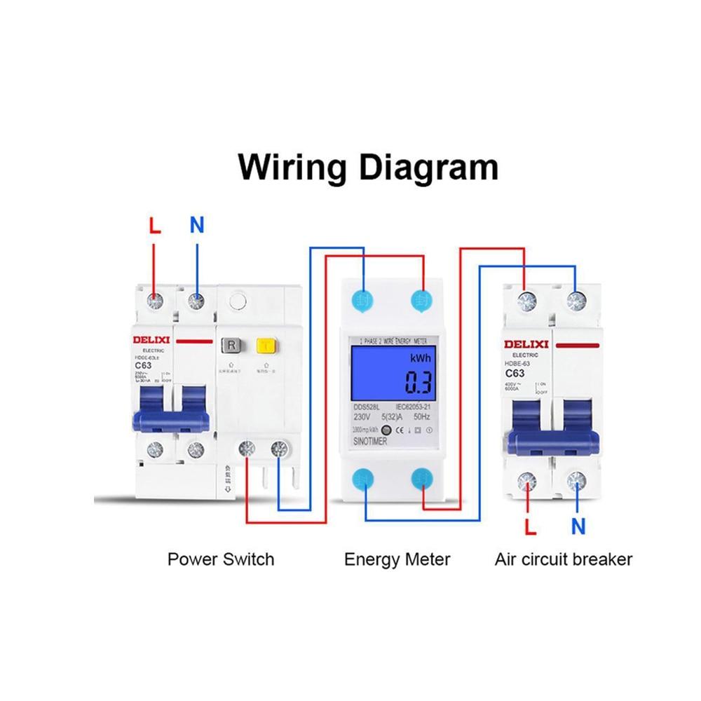 Single Phase Electronic Energy Meter Circuit Diagram   10 40a 220v 50hz Digital Rail Single Phase Wattmeter Power
