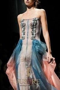 Image 3 - JUSERE 2019 SS אופנה להראות סקסי לראות דרך ישר לנשף שמלת יד ואגלי ארוך צד פורמלי שמלות Vestido דה festa לונגו