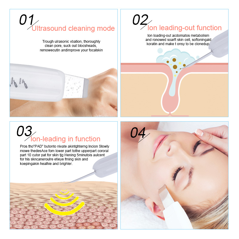 Ultrasonic Skin Scrubber Blackhead Removal Deep Face Cleaning Skin Peeling Extractor Skin Care Rejuvenation Beauty Device 4345