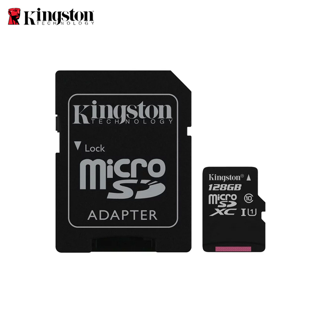 Kingston micro SDHC карта памяти, 128 ГБ, класс 10 U1 UHS-I с адаптером селфи-Стик