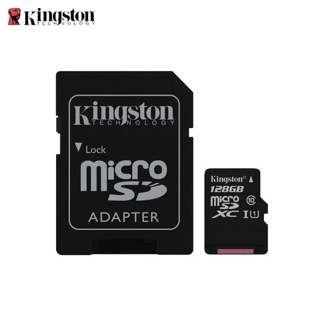 Карта памяти kingston micro SDHC, 128 ГБ, класс 10 U1 UHS-I с адаптером