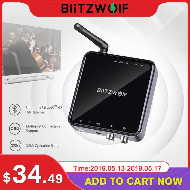 BlitzWolf bluetooth V5.0 3.5mm Aux sans fil récepteur émetteur adaptateur musique Audio pour TV Smartphone PC ordinateur haut-parleurs voiture