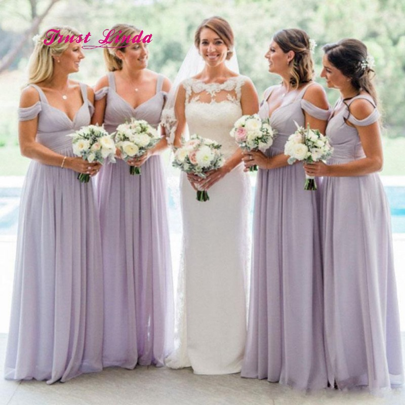9d69b09c293f Brautjungfernkleid Chiffon Maid Of Honor Dresses For Weddings Sweetheart  Lilac Long Bridesmaid Dresses Plus Size