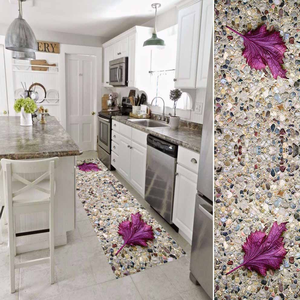 Else Brown Pebble Stone Wall Purple Leafs 3d Print Non Slip Microfiber Washable Floor Living Room Mat Kitchen Rug Hallway Carpet