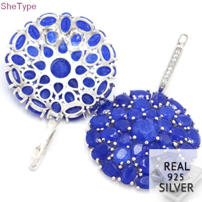 SheType 14.0g Big Heavy Blue Sapphire Natural White CZ Ladies 925 Solid Sterling Silver Earrings 46x30mm