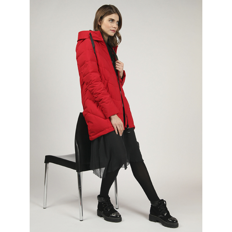 tom farr down jacket woman hooded 2018 winter  female red clothes coats T4F-W3602_25 two tone hooded patched casual jacket
