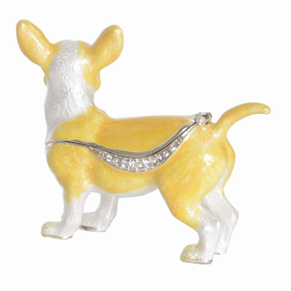 Chihuahua dog jewelry trinket box ring organizer insect figurine pewter  ornament novelty pet lover gift vintage decoration