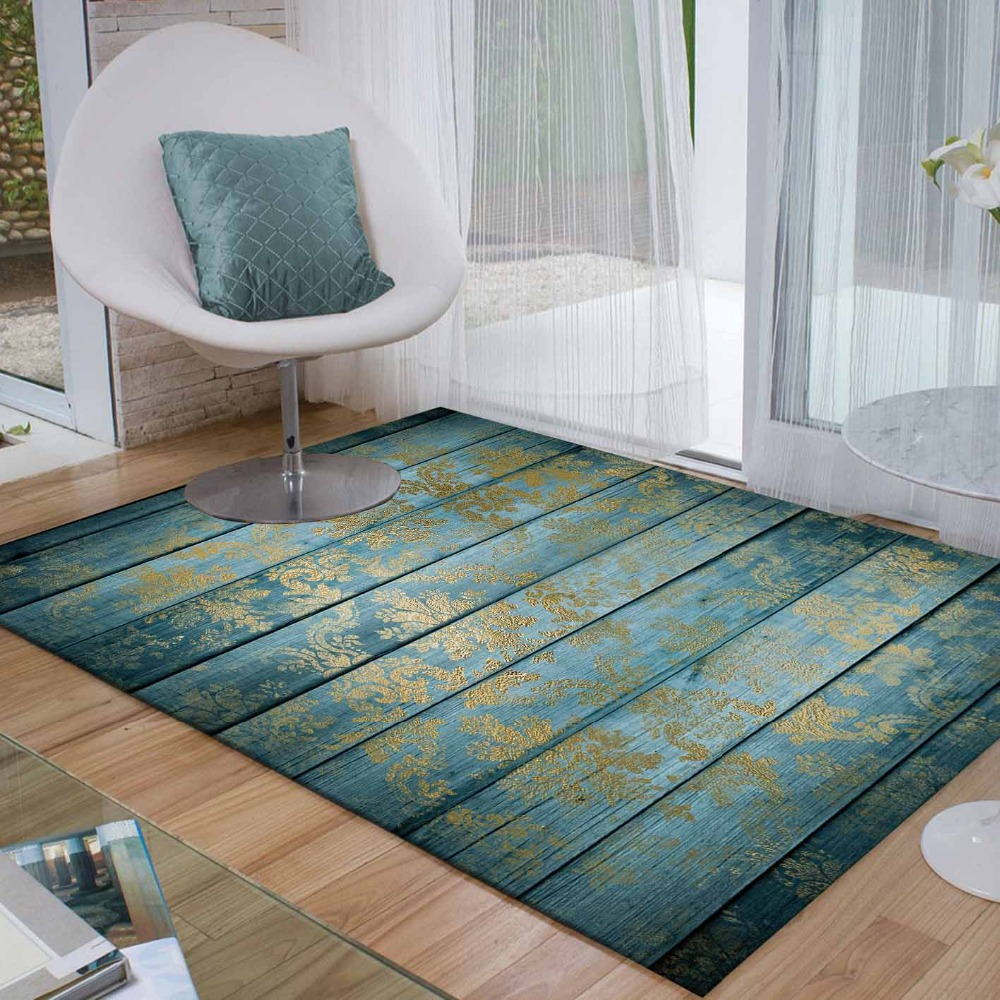 Else Light Blue Wood Yellow Floral Ethnic Aging 3d Print Non Slip Microfiber Living Room Decorative Modern Washable Area Rug Mat