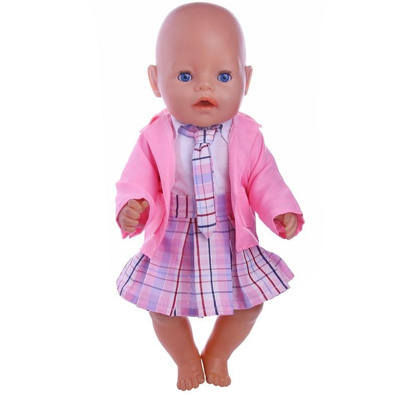 4pcs Pink School Set Clothes=coat +T-shirt+Short skirts+tie Wear fit 43cm Baby Born Zapf Doll Clothes , Best Gift