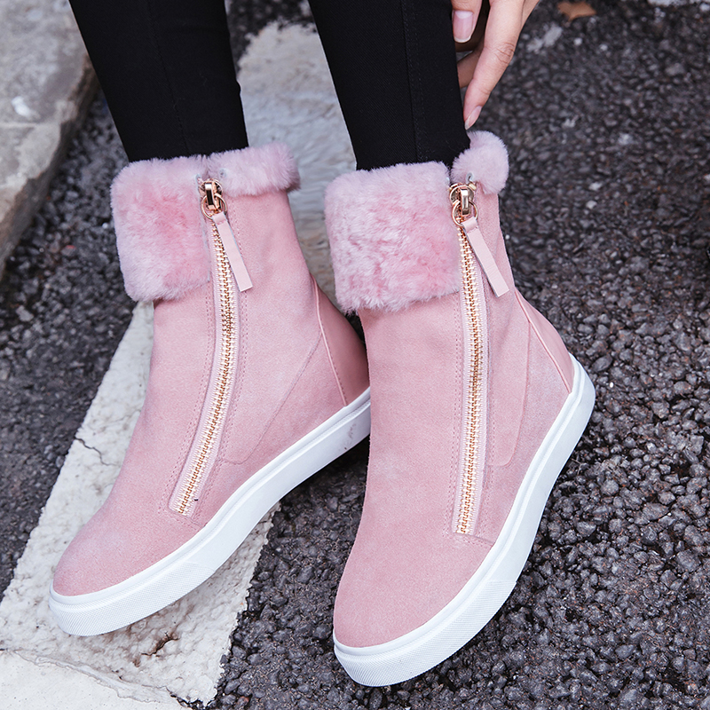 Fashion Double Zipper Flat Boots Women Winter Cow Suede Leather Comfort Wool Female Fur Short Booties Handmade Lady Warm Shoes