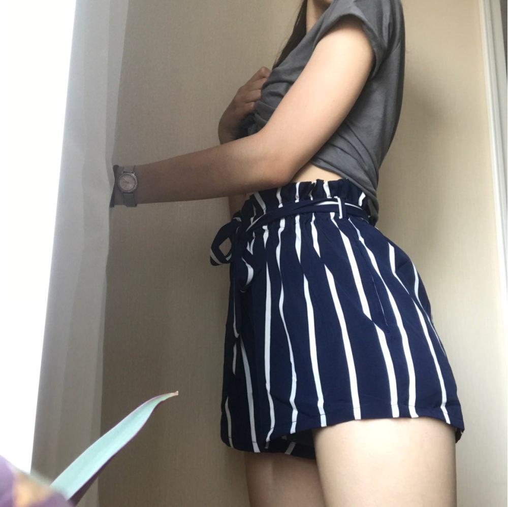 Belted Ruffle Waist Striped Boho Shorts Women Navy High Waist Loose Bottom Shorts Summer Beach Casual Shorts photo review
