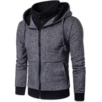 New Casual Fashion Hoodies Plain Mens Hoodie Sweatshirt Long Sleeve Full Zip Up Slim Fit Hooded
