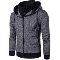 New Casual Fashion Hoodies Plain Mens Hoodie Sweatshirt Long Sleeve Full Zip Up Slim Fit Hooded