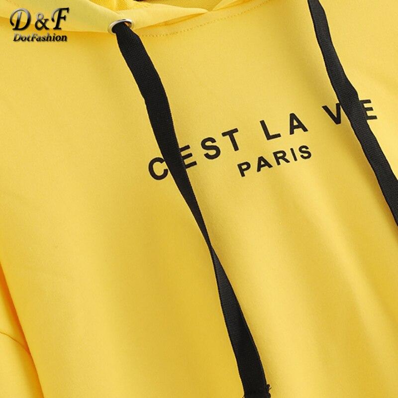 36f29c3ec1b Dotfashion Yellow Letter Drop Shoulder Drawstring Hoodie Crop Sweatshirt  Women Casual Autumn Hooded Long Sleeve Preppy Pullover-in Hoodies &  Sweatshirts ...
