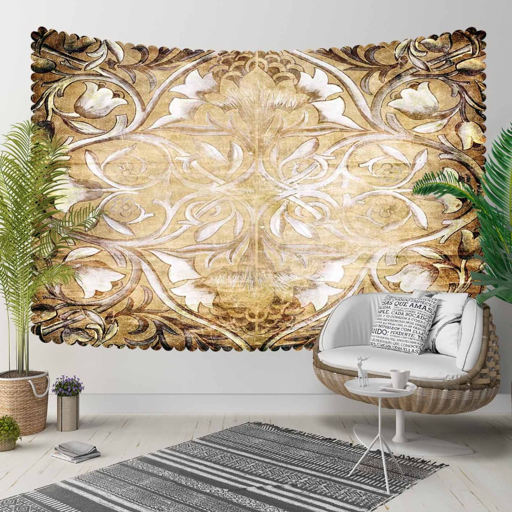 Else Vintage Brown Yellow Ethnic Turkish Floral 3D Print Decorative Hippi Bohemian Wall Hanging Landscape Tapestry Wall Art