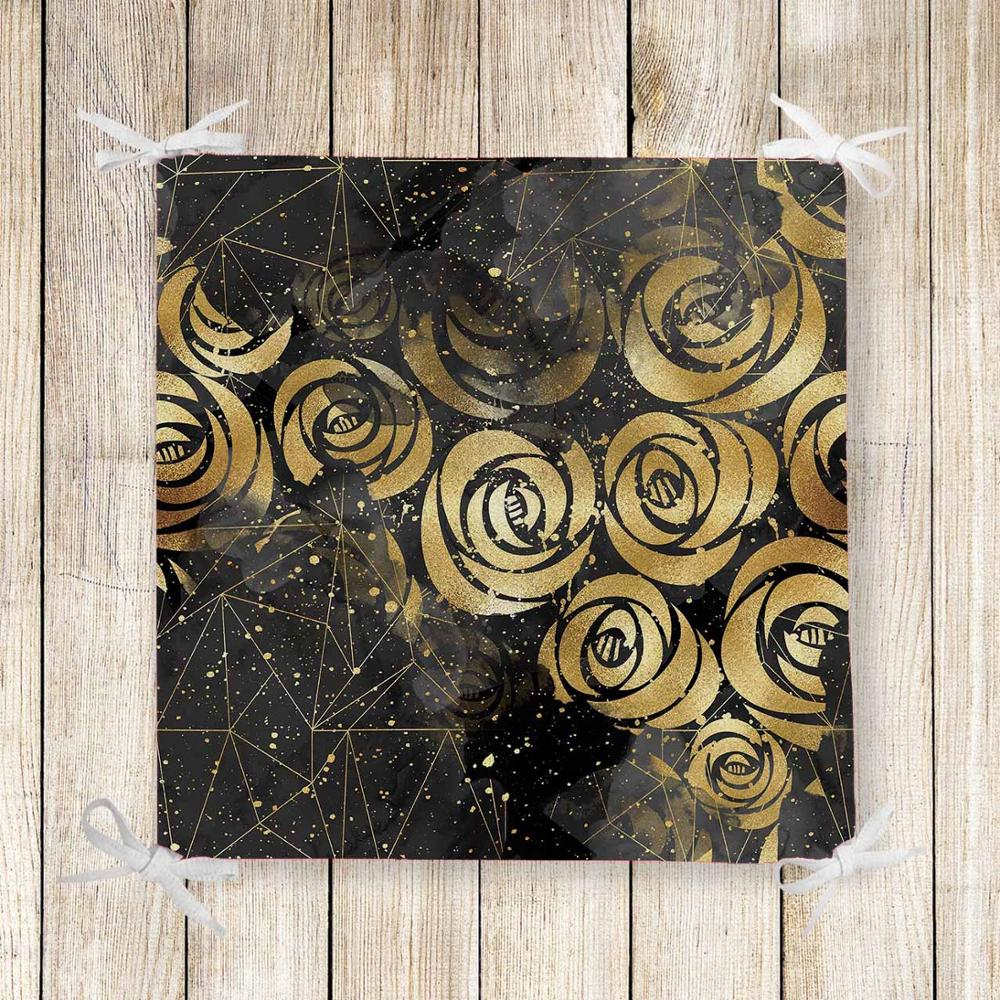Else Black Golden Yellow Roses Nordec 3d Print Chair Pad Seat Cushion Soft Memory Foam Full Lenght Ties Non Slip Washable Zipper