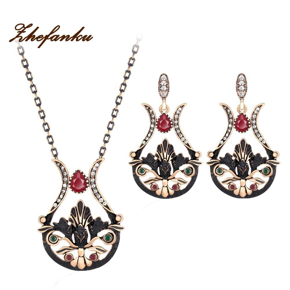 Turkish Jewelry Sets Earrings & Ring Antique Resin Flower Brincos Water Drop Stud Earrings Crystal Set