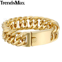 18mm Wide Mens Boys Chain Silver Tone Gold Plated Double Curb Link 316L Stainless Steel Bracelet