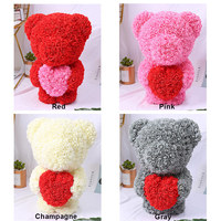 Valentine's Romantice Artificial Rose Stand Loving Bear PE Rose Gift For Wedding Party Creative DIY Valentine Gift PE Rose Doll