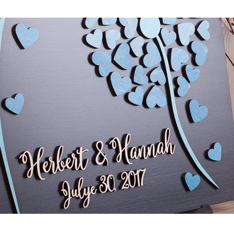 Hearts Wedding With Unique For Gift Guestbooks 3D Name Date Wedding Alternative Guestbook  Dandelion Personalized Books amp Guest
