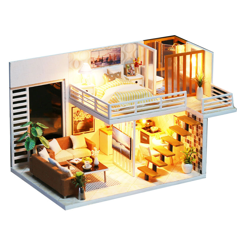 Assemble DIY Doll House Toy Wooden Miniatura Doll Houses Miniature Dollhouse Toys With Furniture Dust Cover LED Birthday Gift assemble diy doll house toy wooden miniatura doll houses miniature dollhouse toys with furniture led lights birthday gift