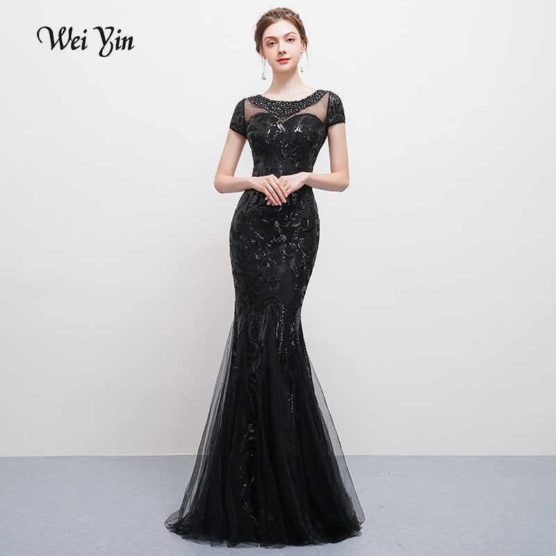 weiyin Mermaid Short Sleeves Luxury Floor-length Evening Dresses Cheap  Women Wedding Party Formal Long 17ce01729fb5